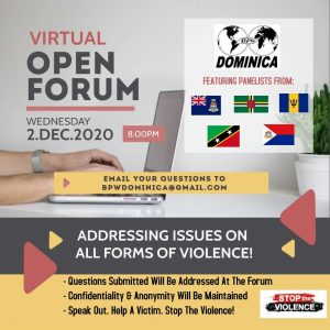 BPW Dominica presents: Addressing Issues on All Forms of Violence @ Online: Facebook