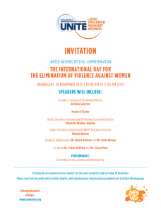 Unite to End Violence Against Women (UN Women) @ Virtual via Zoom